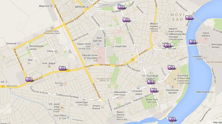 mapa kamera beograd Autostart doo » Mapa lokacija u Novom Sadu na kojima se snimaju  mapa kamera beograd